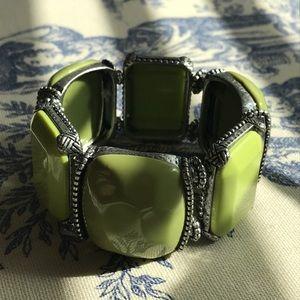 CHICOS Green & Sliver Stretch Bangle Bracelet 🌴